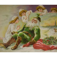 Woolson Spice Trade Card Sleeping Santa in Green Suit - Christmas 1893