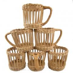 Set of 6 Vintage Wicker Cup Holders