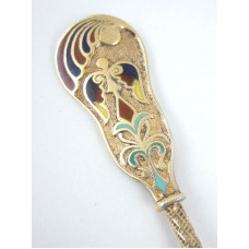 Gilt Sterling Silver Enamel Souvenir Demitasse Spoon - Chicago