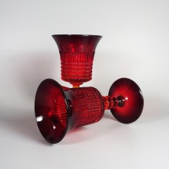 Ruby Red Fenton Glass Lincoln Inn Wine Glass Water Goblet - Pair