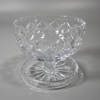 Vintage Footed Crystal Dessert Bowl with Spoon Rest Base
