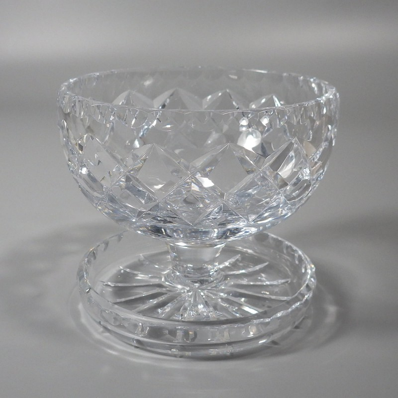 vintage footed crystal dessert bowl with spoon rest
