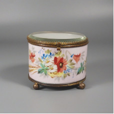 Vintage Floral Porcelain Jewelry Casket Trinket Box Beveled Glass Lid