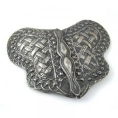 Antique Nurses Belt Buckle - Art Nouveau Repousse Lattice Butterfly