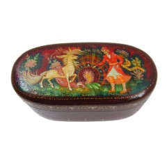 Oval Russian Lacquer Box Magic Pony and Feather of a Firebird, Made in Russia Kholui Village