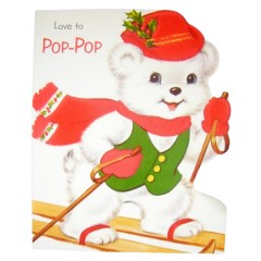 Love to Pop-Pop Unused Vintage Norcross Flocked Die Cut Christmas Card
