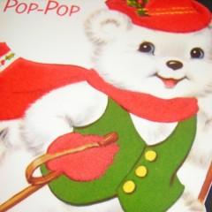 Love to Pop-Pop Unused Vintage Norcross Flocked Die Cut Christmas Card