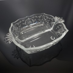 Fostoria Baroque Divided Two-Part Relish Dish in Navarre Etch 2496