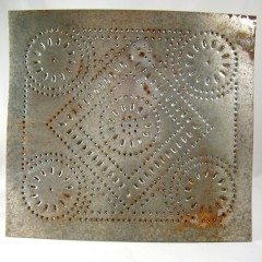 Diamond Motif Rustic Primitive Punched Tin Cabinet Panel