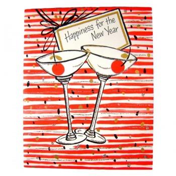 Mid Century Martinis - Unused Vintage Hallmark New Years Happiness Greeting Card