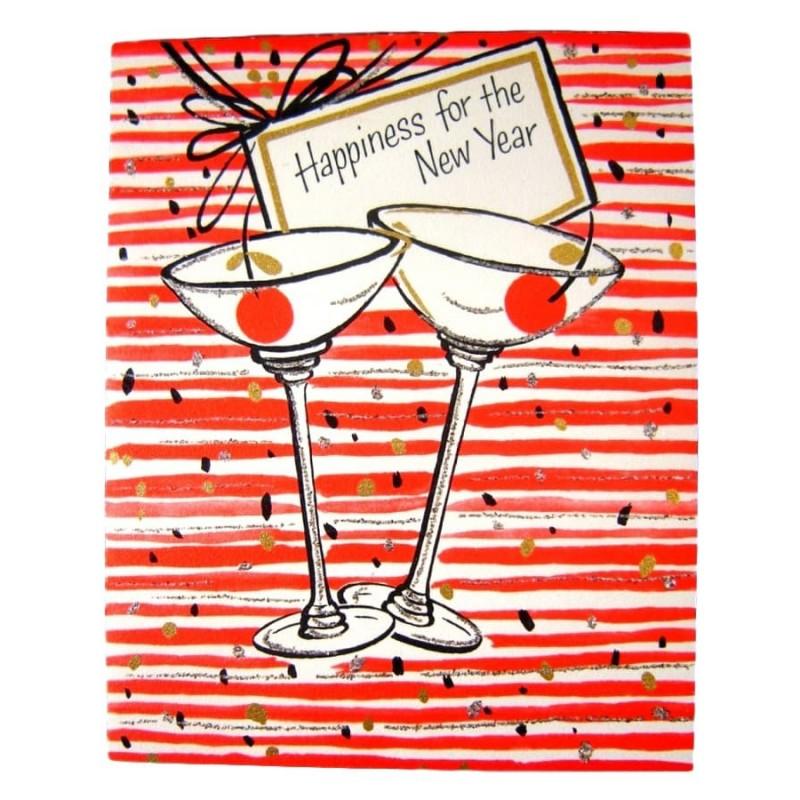 mid century martinis unused vintage hallmark new years happiness greeting card