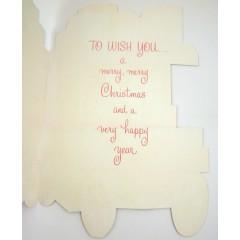 Here Comes Santa Unused Vintage Die Cut Christmas Card