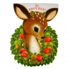 Die Cut Hallmark Deer Brother Vintage Christmas Greeting Card - Unused