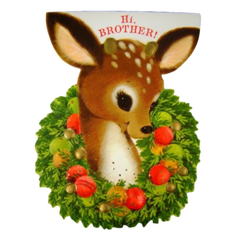 Die Cut Hallmark Deer Brother Vintage Christmas Greeting