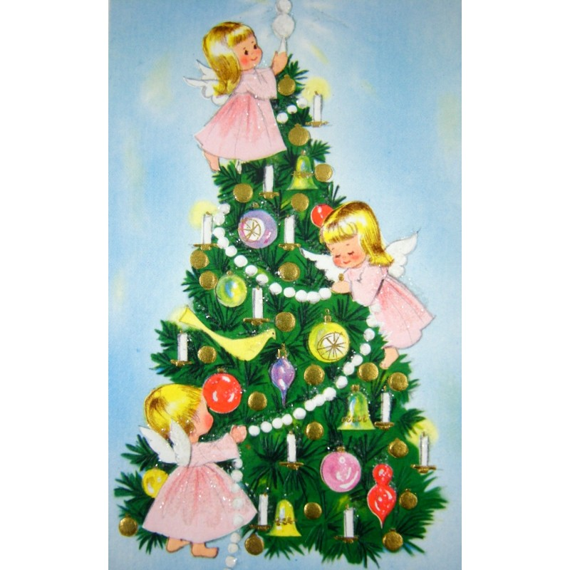 Unused vintage angels in tree new year christmas greeting card glitter angels and tree vintage new year christmas greeting card unused m4hsunfo