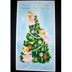Glitter Angels and Tree Vintage New Year & Christmas Greeting Card - Unused
