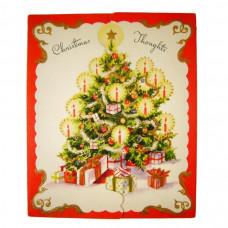 Die Cut Flap Christmas Tree Vintage Prize Greeting Card