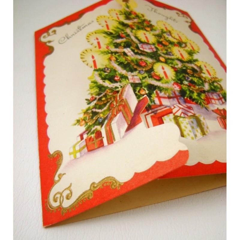 Die cut flap christmas tree vintage prize greeting card m4hsunfo