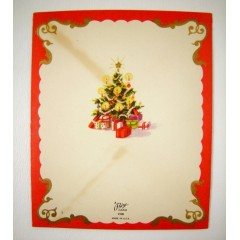 Die Cut Flap Christmas Tree Vintage Prize Greeting Card