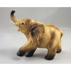 Lefton Elephant Figurine with Raised Trunk H6980 - 1950s Vintage