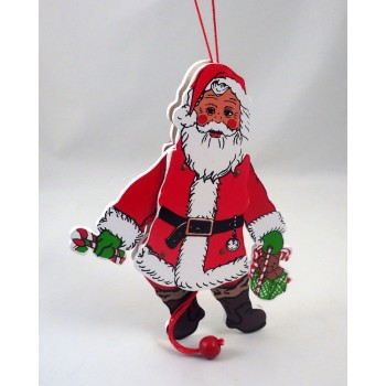 Pull String Vintage Santa Wooden Toy Decoration