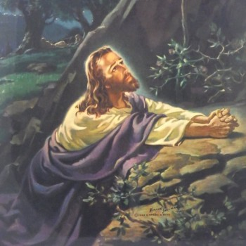Warner Sallman 1941 Christ in Gethsemane Jesus Litho Wall Hanging