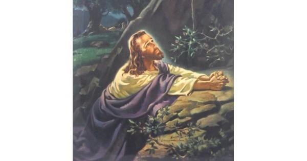 1941 Christ In Gethsemane Warner Sallman Litho Wall Hanging