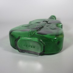 Green Glass Violin Bottle with Musical Notes - LV Viobot Made In Japan
