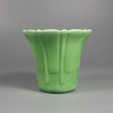 Vintage Akro Agate Ribs and Flutes Flower Pot Planter Green 296 Type 2