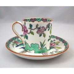 Crown Staffordshire Rock Bird Demitasse Cup & Saucer Set