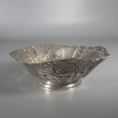 Antique German Hanau Pierced Repousse Silver Bowl with Urns and Floral Swags