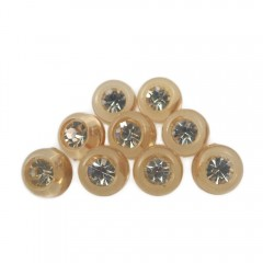 9-Piece Lot Small 12mm Round Rhinestone Vintage Plastic Shank Buttons