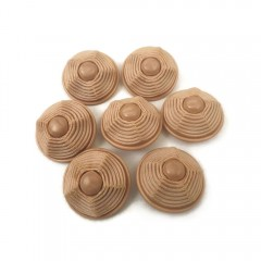 7-Piece Lot of 33mm Round Vintage Wavy, Tiered Dome Plastic Buttons