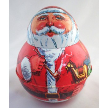 1980 Vintage Roly Poly Chein Cheinco Santa Figural Tin