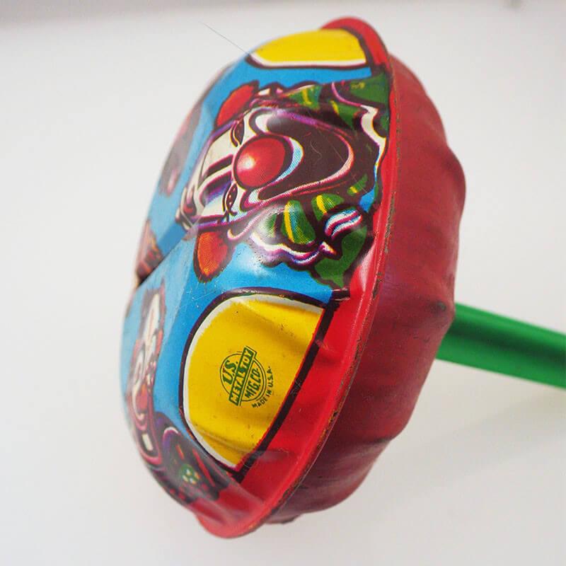 Vintage U S Metal Toy Lithograph Clown Rattle Noise Maker