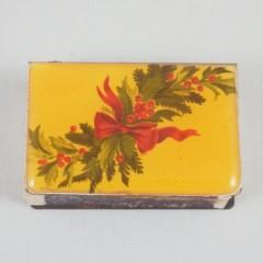 Christmas Holly Vintage Enameled Glass Ashtray & Matchbook Set