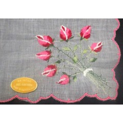 Cotton Vintage Swiss Rose Bouquet Embroidered Hanky Handkerchief - Switzerland