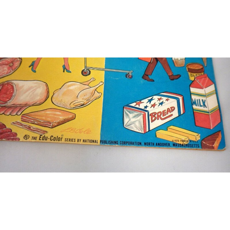 Oversized Vintage 1970 Visit to the Supermarket Coloring Book