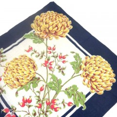 Blue Vintage Handkerchief Hanky with Yellow Chrysanthemums