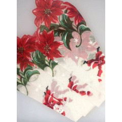 Christmas Poinsettia Vintage Santa Handkerchief Birthday Greeting Card