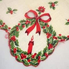 Christmas Holly Vintage Handkerchief Hanky with Bow Cut-Out