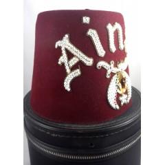Pair Vintage Jeweled Shriners Masonic Ainad Temple Fez Hat - Hard Zip & Soft Case
