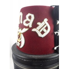 Pair Vintage Jeweled Shriner Masonic Ainad Temple Fez Hat - Hard Zip & Soft Case