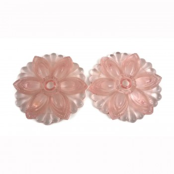 Pair of Vintage Pink Depression Glass Rosette Flower Curtain Tie Backs