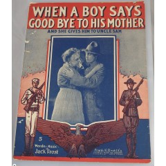 Old Sheet Music When A Boy Says Good Bye To His Mother 1917 Jack Frost