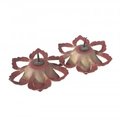 Vintage Beige and Red Enamel Flower Push Pin Curtain Tie Backs