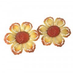 Vintage Yellow and Orange Enamel Flower Push Pin Curtain Tie Backs