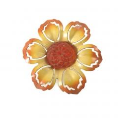 Vintage Yellow and Orange Enamel Flower Push Pin Curtain Tie Backs