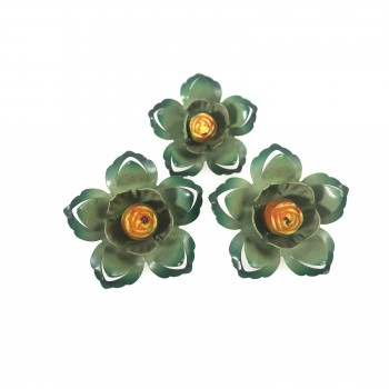 Green Enamel Flower Vintage Push Pin Curtain Tie Backs Set
