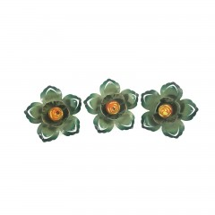 Set of 3 Green Enamel Flower Push Pin Curtain Tie Backs